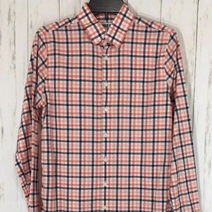 Mens Express Fitted Long Sleeve Plaid Dress Shirt